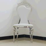 Heißes Verkaufs-Modell-dekorativer Stich-Rückseiten-weißes Leder-Edelstahl-Bankett-Stuhl