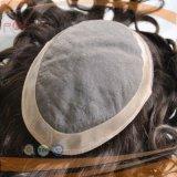 ブラジルの毛PUのボーダーカーリーヘアーの人のToupee (PPG-l-01359)
