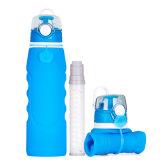 Bottiglia bevente portatile di trasporto del silicone pieghevole molle ecologico veloce di sicurezza con il filtro da acqua