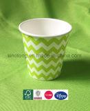 Personalizar desechable verde aceptó una sola pared de la Copa de papel blanco