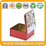 مربّعة هبة معدن قصدير صندوق مع مفصّل, طعام صفيحة مقصدرة صندوق