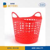 Casa de plástico de uso del Servicio de lavandería Cesta La cesta de plástico sólido con asa