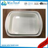Plateau Ovenproof de lasagne de four de porcelaine blanche en gros