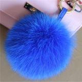 すばらしいキツネの毛皮のポンポンの球の曖昧な毛皮移動式吊り下げ式のKeychains