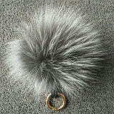 Fördernder realer Fox-Pelz-Kugel-Pelzpompom-Hut nettes Keychain