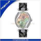 Relógio de couro da jóia de 2017 senhoras de aço especiais quentes de quartzo suíço da venda
