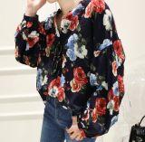 Повелительницы фасонируют Collarless флористическую тенниску рубашки картины