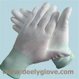 Содержания ладони PU Deely перчатки работы белого безопасные