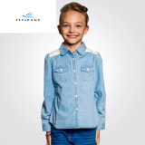 Nuova camicia del denim dell'azzurro di blu marino di svago di stile per le ragazze dai jeans della mosca