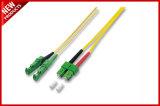 3.0m m LC amarillo a la chaqueta unimodal de la cuerda LSZH del cable óptico de fibra del LC OS2