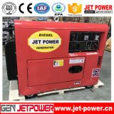 6 КВА бесшумный двигатель с водяным охлаждением воздуха одного цилиндра портативный дизельный генератор