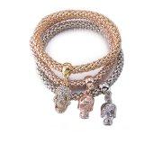 Monili a forma di del braccialetto del braccialetto del cranio a più strati del diamante di Zircon di modo