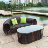 Brown-Freizeit-im Freienpool-Strand-Kombination PET Rattan-Fußboden-Bett-Sofa