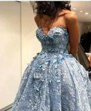 Платье E1327 выпускного вечера партии без бретелек голубого Coral шнурка платья вечера Hi-Низкое
