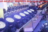 36X18W RGBWAの紫外線6in1洗浄ズームレンズLEDプロ軽い移動ヘッド