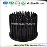 Fundição personalizada do radiador de alumínio Redonda preta para Iluminação Comercial