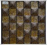Het gouden Mozaïek van het Glas van de Folie met het Glas van het Kristal van de Tegel van de Strook met Roestvrij staal 304