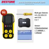 5 de Analysator van het gas, Backlit LCD Vertoning 5 de Monitor gelijktijdig Lel, O2, H2s, Co, Co2 5 van Gassen in Detectors van 1 de Draagbare multi-Gas