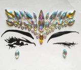 Autoadesivo acrilico dei diamanti di trucco dell'occhio degli autoadesivi del Rhinestone del fronte dell'occhio di arti dello spettacolo dell'autoadesivo del tatuaggio (S054)