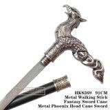 Bastone da passeggio 94cm HK8269 della canna di Phoenix del metallo del metallo capo della spada