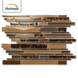 低価格のストリップの屋内装飾のための光沢のあるブラウンのガラスモザイク・タイル