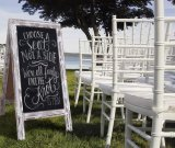 Rustic Vintage Whitewashed Doubles Side Chalkboard with Customized Logo