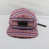 Letherのラベルが付いているデジタルプリント5パネルのキャンプの帽子の帽子