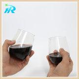 Vidrio de vino rojo plástico de la curva del dedo de 8 onzas, plástico de la taza del vino