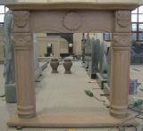 Cheminée de cheminée/de marbre de marbre beige ensoleillée/cheminée en pierre