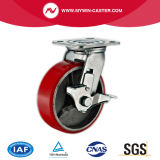 Большой 8-дюймовый 450кг пластины тормоза самоустанавливающегося колеса из термопластичного полиуретана