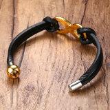 De Juwelen van de Armband van het Leer van Genunie van de Greep van het Roestvrij staal van de Mensen van de manier