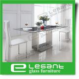 Tabella di vetro bianca eccellente di Dnining con i piedini del ferro