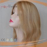 El Pelo Corto rubio delantero encaje peluca la parte superior de la Seda (PPG-L-01617)
