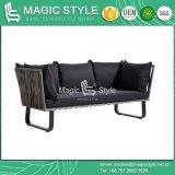 Sofá de vime com almofada exterior moderno conjunto de sofá de vime Garden sofá 2 lugares de tecelagem de vime sofá 3 lugares Pátio Lazer Sofá mesa de café para Cafe