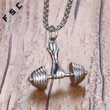 Halsband de van uitstekende kwaliteit van de Tegenhanger van de Domoor van de Sport van Barbell Bodybuilding van het Roestvrij staal