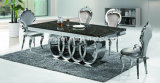 현대 대리석 상단 또는 강화 유리 최고 스테인리스 식탁