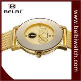 Belbi ultrafino de acero inoxidable Dial grande tres ojos falsos Diseño seis clavijas Women Watch