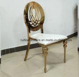 フォーシャンの金のステンレス鋼の結婚式のイベントのための椅子を食事する円形の月表の宴会
