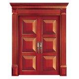 Porte de porte d'entrée de force en bois solide double avec le matériel normal