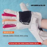 Guanti di funzionamento del cotone di sicurezza della tela di canapa K-92 con il rivestimento del cotone