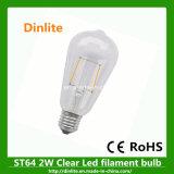 Lampadina libera del filamento di St64 2W E27 LED