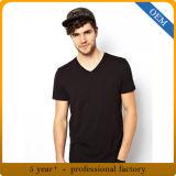 Custom 100% coton noir ordinaire col V T Shirt pour hommes