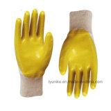 Желтый нитриловые перчатки стороны с покрытием