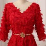 Красный 1/2 муфту V-образный вырез длинный платья Ппзу Openboot