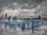 Indrukwekkende Stad hierboven - het Olieverfschilderij van het Landschap van het water