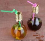 Choc d'ampoule de lampe/glace en verre de maçon avec la couverture en métal