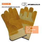 K-37 серого Split коровы полностью вставлен гильзы Palm манжеты Canvas назад кожаные рабочие перчатки