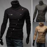 Nova Moda Turtleneck do homem mangas longas pulôver suéter grosso
