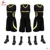 Healongの黒いチーム安いカスタムバスケットボールのジャージデザインバスケットボールのユニフォーム