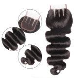 O Toupee das mulheres malaias da onda natural média do corpo da cor do cabelo 3parts com cabelo humano de 100% e laço cheio